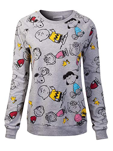 (Instar Mode Women's Peanuts Snoopy/Charlie/Sally/Linus/Lucy/Woodstock Crewneck Sweatshirt PS61 Grey XL)