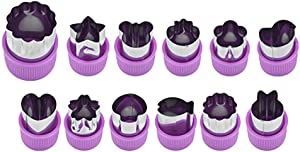 YERZ Vegetable Cutter Shapes Set, Mini Pie, Fruit and Cookie Stamps Mold, Cookie Cutter, Decorative Food Tools, Kitchen Accessories Crafts(Purple)
