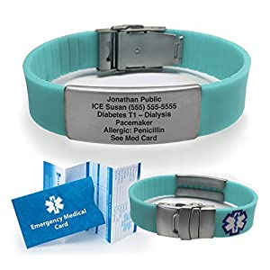 Silicone Sport Medical Alert ID Bracelet (Incl. 5 lines of custom engraving). Choose Your Color! -