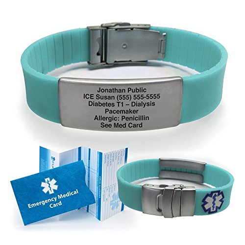 Silicone Sport Medical Alert ID Bracelet - Teal (Incl. 5 lines of custom engraving). Choose Your...