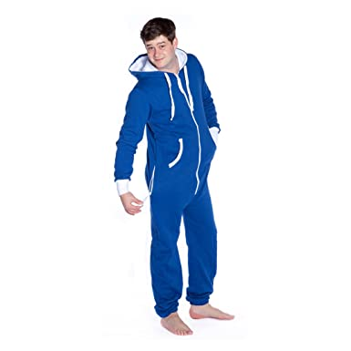 aa1d0368afe0 Image Unavailable. Image not available for. Color  Big Feet Royal Blue Hoodie  Jumpsuit Hooded Onesie Loungewear for Men   Women