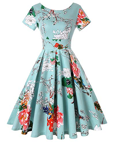 Vintage Floral Cocktail Dress Short Sleeve Retro Tea Dress (Floral Light Blue,Size -