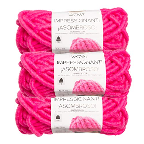 Lion Brand (3 Pack) Wow! Acrylic & Wool Soft Bright Fuchsia Pink Yarn for Knitting Crocheting Jumbo #7 (Mohair Cable)