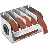 Steel Sandpaper Roll Dispenser with 5 Cloth Abrasive 1'' x 20' Rolls Ideal for Wood Turners, Furniture Restoration, Automotive, Home, Workshop and General Use