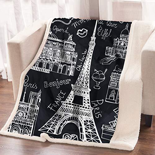 ARIGHTEX France Black and White Eiffel Tower Flannel Fleece Throw Blanket Retro Paris Sherpa Blanket Soft Warm Blanket Picnic Beach Blanket (50 x 60 - Tower Flannel Eiffel