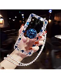 Amocase Diamond Clear Case with 2 in 1 Stylus for Samsung Galaxy A40,Luxury Girly 3D Handmade Gemstone Soft Rubber Bumper Ring Stand Holder Bling Case with Crystal Neck Lanyard - Blue