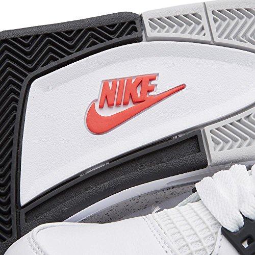 Nike Mens Air Jordan 4 Retrò Cemento Bianco / Rosso Fuoco-nero In Pelle Taglia 8