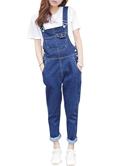 uk availability ce6ea 271f0 Femme Salopette Jeans Combinaison Denim Slim Jumpsuit Pantalon Casual Lâche  pour Printemps Automne