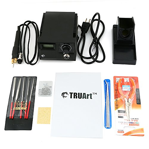TRUArt Stage 2 Single Pen Professional Woodburning Detailer 60W Tool with Digital Temperature Control, 20 Tips and Case by TRUArt