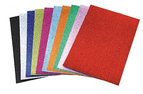 DWeS Glitter Paper Multicolor A4  10 Nos  Coloured Paper