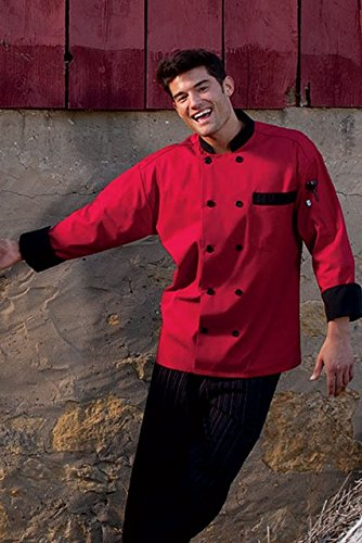 Shirt Trim Chef (Uncommon Threads Unisex Newport Chef Coat with Black Or Hounds tooth Trim, Red/Black, X-Small)