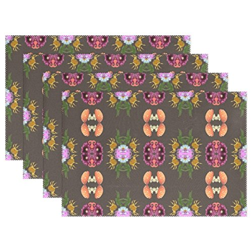 YPink Pattern Retro Design Seamless Halloween Floral Placemats Set Of 4 Heat Insulation Stain Resistant For Dining Table Durable Non-slip Kitchen Table Place Mats ()