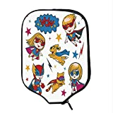 YOLIYANA Superhero Durable Racket Cover,Super Kids and Cat Puppy with Power Legendary Comic Strips Nursery Playroom Image for Sandbeach,One Size