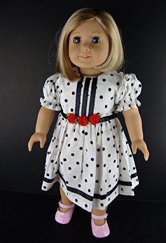 White Dress with Large Black Polka Dots Designed for 18 Inch Doll Like the American Girl Dolls