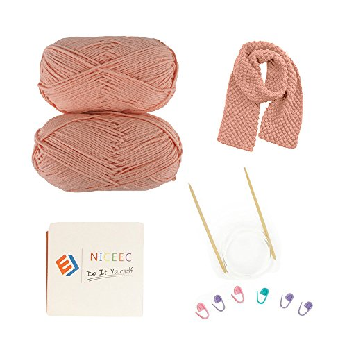 Soft Cotton Yarn Diy Knit Kit To Weave Scarf for Women And Beginner With Free Online Video by NICEEC - PINK
