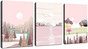 """Abstract Mountain Forest Wall Art Minimalism Landscape Canvas Pictures Contemporary Geometrical Abstract Artwork for Girls Bedroom Bathroom Living Room Wall Decor Pink Themes 12"""" x 16"""" x 3 Pieces"""