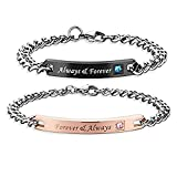 NEW-EC Cute Couples Bracelets set for Him Her Engraved Always Forever Always Adjustable Stainless Steel Charms Link Bracelets chic unique Bangles V-Day Gifts for Dad Mom Rose Gold Black