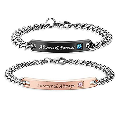 NEW-EC Cute Couples Bracelets set for Him Her Engraved Always Forever Always Adjustable Stainless Steel Charms Link Bracelets chic unique Bangles V-Day Gifts for Dad Mom Rose Gold Black by NEW-EC