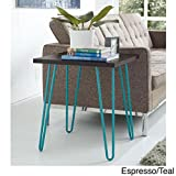 Owen Modern Retro Trendy End Table, Espresso/Teal Turquoise Blue Legs, Perfect Place for a Lamp, Cocktails or a Cozy Reading Space for Books! Add a Pop of Color to any Room! 22