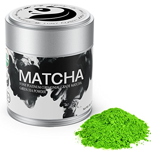 FONY Ceremonial Grade Matcha Green Tea Powder - Japanese, USDA Organic Certified - Boosts Metabolism and Burns Calories Antioxidants Rich Superfood. (Platinum, 35g)