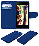 Acm Mobile Leather Flip Flap Wallet Case for Micromax Bolt Supreme 4 Q352 Mobile Cover Blue