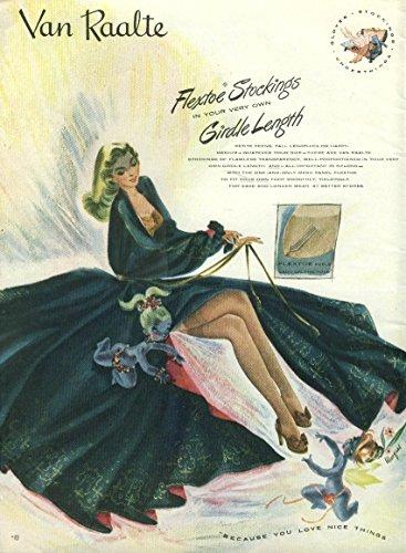 Flextoe Stckings Girdle Length Van Raalte Hosiery ad 1947 NY Marques - Girdle Length