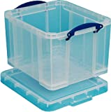 Really Useful Storage Box Plastic Lightweight Robust Stackable 35 Litre Clear Ref 3C