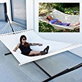 Double Hammock Tree 2 People Person Patio Bed Swing New Cotton Canvas Outdoor with Heavy Duty Power Coated 3 Beam Stand (Complete Set with Hammock, Stand, Hooks and Tree Straps)