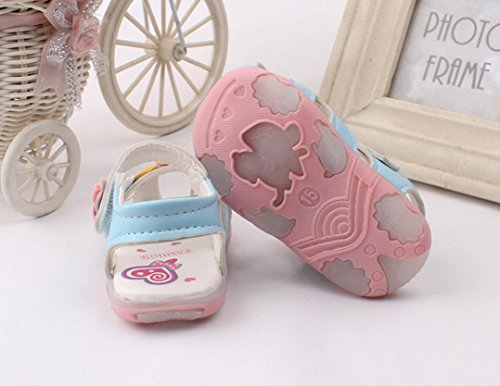Transer Baby Mädchen Sandalen, Mode Weich-Soled Skidproof Blumen Kleinkinder Kinder Flip Flops Blau