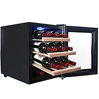 AKDY® 12 Bottles Thermoelectric LED Display Touch Temperature Control Counter Top Quiet Wine Chiller Cooler Cellar