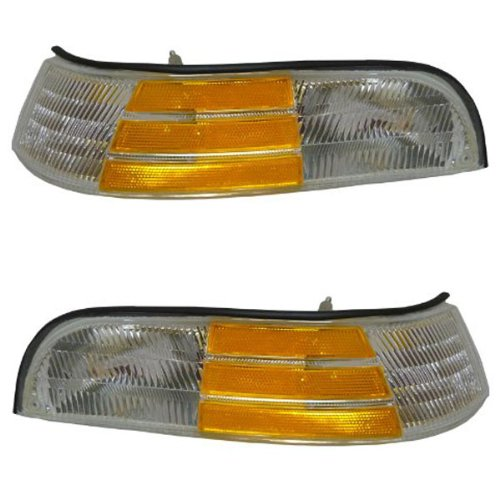 1992-1997 Ford Crown Victoria LX Corner Park Light Turn Signal Marker Lamp Pair Set Right Passenger And Left Driver Side (1992 92 1993 93 1994 94 1995 95 1996 96 1997 97)
