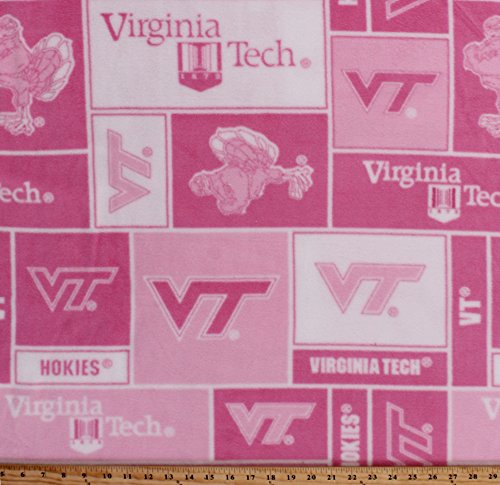 Fleece Virginia Tech University Hokies Pink College Fleece Fabric Print By the Yard (svt220s)