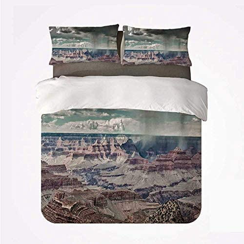 Bedding Duvet Cover Set – Farmhouse Decor Cumulus Clouds on Grand Canyon Valley with Hazy Beams Idyllic Nature – Brushed Microfibre Duvet Cover with Pillowcases-Single(135 * 200cm)