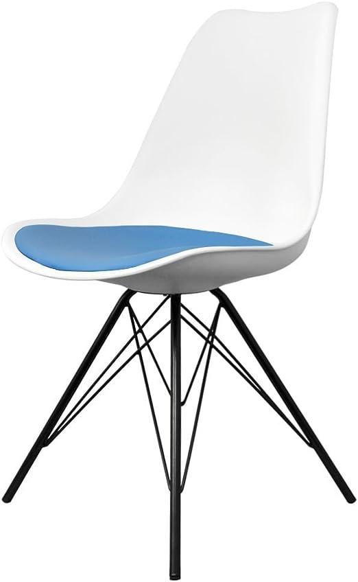 Fusion Living Eiffel Inspirado Silla De Comedor Blanca Y Azul con ...