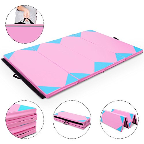 Exercise Mat Pink & Blue 4'x6'x2 Gymnastics PU Thick Folding Panel Gym Fitness with Ebook