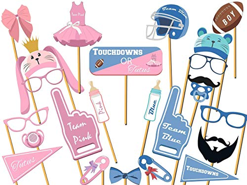 Touchdowns Or Tutus Gender Reveal Props Team Pink And Team Blue Theme With Ribbon And Bowtie Baby Shower Photo Booth Prop Handmade Party Supply Photo Props Size 36x24
