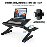 SLYPNOS Adjustable Laptop Stand Folding Portable Standing Desk Ventilated Aluminum Laptop Riser Tablet Holder Notebook Tray with Front Lip and Detachable Mouse Tray for Desk Bed Couch Floor, Black