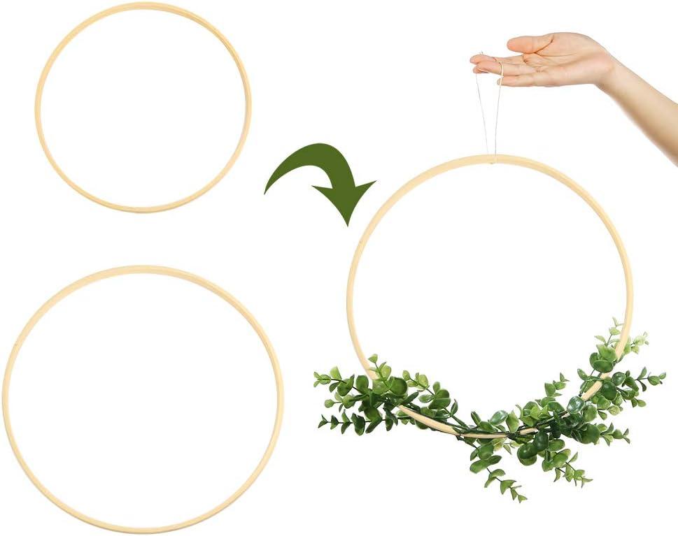 decoraci/ón de corona de boda Sntieecr Juego de 12 aros de madera de bamb/ú y flores de macram/é para manualidades 15cm /& 20cm atrapasue/ños y manualidades para colgar en la pared