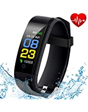 Fitness Tracker Waterproof with Heart Rate Monitor, Blood Pressure Monitor, Sleep Monitor, Pedometer Smart Watch for Walking, Calorie Counter, Call/SMS Reminder for Kids Women and Men