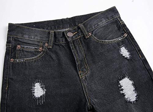 Fit Fori Rotti Jeans Denim Pantaloni Comode Stile Slim Taglie Abiti Uomo In Cher Da Con Vintage Nero Casual wqOtP