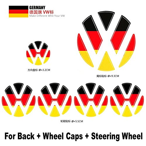 6pcs Sets TQ23 Germany Deutschland Flag 3 colors Rear Back + Wheel Hub Caps + Steering Wheel Badge Emblem DIY Decorative Car Decal Sticker For VW Volkswagen B5 B6 MK4 MK5 MK6 ()