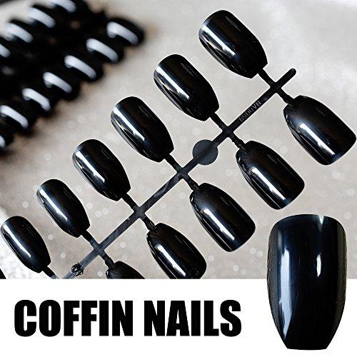 Shiny Black Ballerina Fake Nails Square Drop Water Ladies Coffin Acrylic Nail Art Tips Easily Use E25B