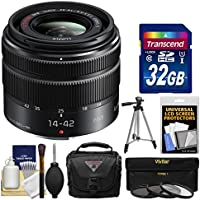 Panasonic Lumix G Vario 14-42mm f/3.5-5.6 II ASPH OIS Zoom Lens with 32GB Card + Case + Tripod + 3 Filters Kit for G7, GF7, GH4, GM5, GX7, GX8 Camera