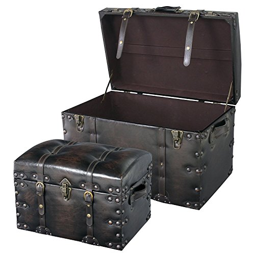 Azumaya IW-876, (Small and Large) 2PCS Set Storage Boxes Stool Black Synthetic Leather Finish by AZUMAYA