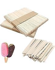 100 PCS Food Grade Smooth Wooden Sticks, Popsicle Sticks Natural Wood Craft Sticks 9.5 cm Length Treat Sticks Ice Pop Sticks for DIY Crafts