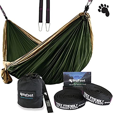 BigFoot Outdoor Double Tree Hammock Suspension System - w/ XL Straps - 34 Loops Total - Over 10.6 feet Long - 6.6 feet wide - 4 Steel Carabiners + Strap Carrying Pouch (Brown/Dark (Bigfoot Products)