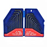 WORKPRO W022018A 30-Piece Hex Key Set w/Plastic Box, SAE & Metric, Chrome-Vanadium Steel