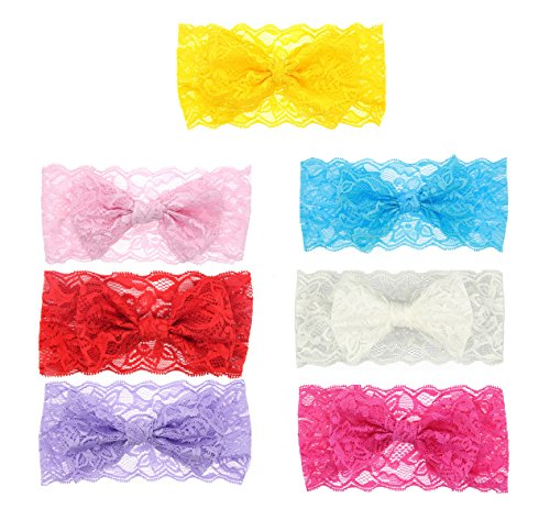 (Ms.Gaga 7PCS Girl Baby Headband Toddler Lace Bow Flower Hair Band Accessories)
