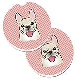 Caroline's Treasures Checkerboard Pink French Bulldog Set of 2 Cup Holder Car Coasters BB1238CARC, 2.56, Multicolor