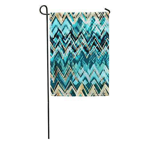 Semtomn Garden Flag Aztec Tribal Ethnic Pattern Blue Saturated Chevron Watercolor Markers Painting Home Yard House Decor Barnner Outdoor Stand 12x18 Inches Flag